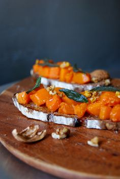 Maple Syrup and Orange Pumpkin Tartine with crisp Sage and Walnuts ° eat in my kitchen