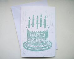 Happy birthday Lino Print linocut Birthday Cake and Candles handmade Card in Green