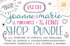 Font Bundle - Shop Bundle by Joanne Marie on @creativemarket