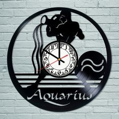 Aquarius black #zodiac astrological horoscope #astrology new blue #clock gift dec,  View more on the LINK: 	http://www.zeppy.io/product/gb/2/262678267160/