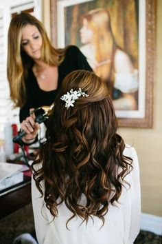 half up half down curled wedding hairstyle ~  we ❤ this! moncheribridals.com