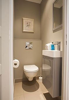 downstairs loo Gorgeous One Bedroom Apartment with Stunning Eiffel Tower Views Cloakroom Toilet Downstairs Loo, Small Attic Bathroom, Small Half Bathrooms, Small Toilet Room, New Toilet, Scandinavian Toilets, One Bedroom Apartment, Bathroom Toilets, Modern Bathroom Design