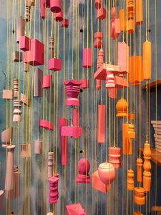 Colourful wooden hanging in-store display at Anthropologie in Toronto (Yorkville)
