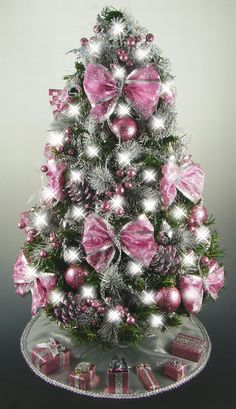 Mini Tabletop Christmas Tree - Rose Pink and Silver - Fully Decorated - - 50 Lights - Tree Skirt - Matching Presents Mini Tabletop Christmas Tree Rose Pink and Silver Fully Christmas Tree Roses, Mini Christmas Tree Decorations, Tabletop Christmas Tree, Silver Christmas Tree, Handmade Christmas Tree, Purple Christmas, Xmas Tree, Christmas Time, Christmas Wreaths