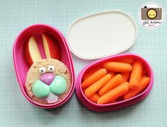 Chicken sandwich cut into a circle and I stuck a bunny lip pop pick in the sandwich. Icing eyes and sliced apple ears. The top tier held baby carrots. Bento Box Lunch, Lunch Snacks, Cute Food, Good Food, Easter Lunch, Whats For Lunch, Creative Desserts, How To Eat Better, Baby Carrots