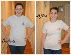 Before and After-how to make a t-shirt smaller.  I need this.  This is the easiest way i found.