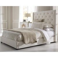 US 585 Contemporary Shelter Fabric Upholstered Bed in Cream by PRI