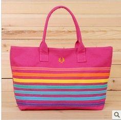 New Summer Fashion Striped Women Candy Color Rainbow Color Shoulder Bag Handbag(colorful)