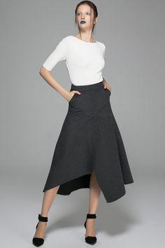 grey skirt, winter skirt, wool skirt, long skirt, office skirt, everyday skirt…