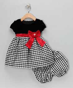 Another great find on #zulily! Black & Red Velvet Gingham Dress & Bloomers - Infant #zulilyfinds