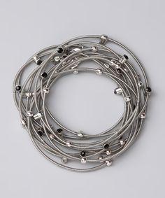 Bee Charming - Silver & Black Rhinestone Piano Wire Bracelet Set
