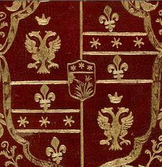 Reliure aux armes de la famille Braschi (sur le tout) à laquelle appartenait le pape Pie VI (plat supérieur) -- «Vite di Santi Padri», par Dominco Cavalca, enluminé par le Maître de Ippolita Sforza, Lombardie, vers 1450-1475 [BNF, Ms italien 1712]