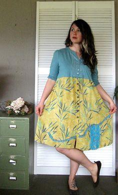 Large XLarge Artsy dress upcycled clothing by lillienoradrygoods, $57.50