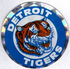 Detroit Tigers Vintage Metallic Baseball Decal-MBL Sticker Emblem Prismatic