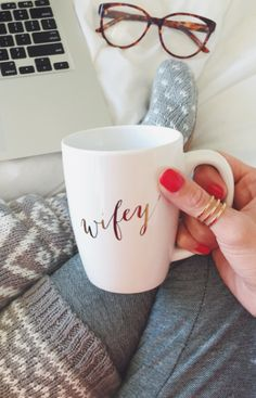 Love our Wifey apparel? Then you need our Wifey Mug to complete your collection. Sip your favorite tea, coffee or even hot coco with our gold printed Wifey mug. Perfect as a gift too! Our Wedding, Wedding Gifts, Dream Wedding, Ily Couture, Future Mrs, Future Husband, Cute Mugs, Married Life, Here Comes The Bride