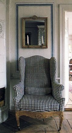 Checkered French provincial wingback chair
