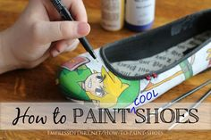 to Paint Shoes How To Paint Cool Canvas Shoes. Excellent tutorial by Empress Of Dirt.How To Paint Cool Canvas Shoes. Excellent tutorial by Empress Of Dirt. Cheap Toms Shoes, Nike Shoes, Shoes Tennis, Vans Converse, Hallowen Ideas, Do It Yourself Inspiration, Style Inspiration, Shoes 2018, Tutorials