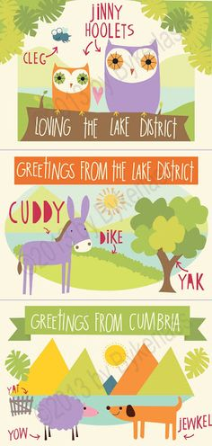 "Wot Fettle Cumbrian Post Cards. Cumbrian post cards with Jinny Hoolets, a jewkel and a Cuddy on them! www.wotmalike.co.uk £0.75 each Free Postage  ""Greetings From Cumbria and the Lake District Post Card"" MADE IN UK!"