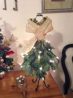 Tabletop dress form Christmas tree