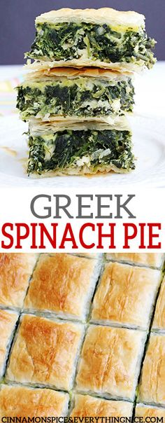 Spinach, feta and ricotta cheese in flaky layers of phyllo. A classic Greek favorite you can serve as an appetizer, side or even as a vegetarian main dish. Turkish Recipes, Greek Recipes, Vegetable Recipes, Real Food Recipes, Vegetarian Recipes, Cooking Recipes, Healthy Recipes, Greek Meals, Fall Recipes