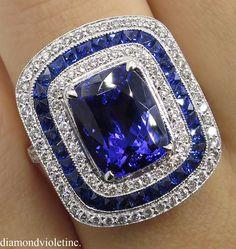 5.39ct Estate Vintage Tanzanite Diamond Engagement Wedding Platinum Ring by DiamondViolet on Etsy https://www.etsy.com/listing/478883128/539ct-estate-vintage-tanzanite-diamond