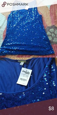Sequence tank NWT Pretty blue! Shiny!! Never worn! Bug and smoke free home! Charlotte Russe Tops Tank Tops