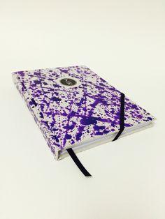 Rilegatura a spirale, copertina rigida in cartonato personalizzata, elastico, viola.