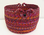 Coiled fabric basket : )