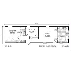 16 x 48 2 Bed 1 Bath 744 Sq. Ft. Floorplan Hardwood through out the  X Mobile Home Floor Plans on 16x32 mobile home, 12x36 mobile home, 20x30 mobile home, 20x60 mobile home,