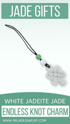These charms are amazing gifts. You can hang them on your purse, phone case, rear view mirror, etc. This piece features a white jade endless knot (longevity & true love) carved center piece with green and white jade bead accents. Use discount code INSTA10JORDAN at checkout! Unique Gifts, Best Gifts, White Jade, Burlap Ribbon, Polymer Clay Charms, Jade Beads, Rear View Mirror, Jewelry Gifts, Jewellery