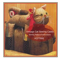 Sewing Caddy Cat Arm Chair Sewing Caddy Cat Sewing Storage Sewing Pattern PDF #CFT 900-Mailed Copy Also Available-DurhamDeals