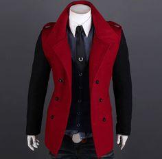 """Sham"" Color Block Double Breasted Woolen Coat"