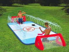 Get Your Knees Wet The Water Soaked Kneww Hockey Rink at Hammacher Schlemmer