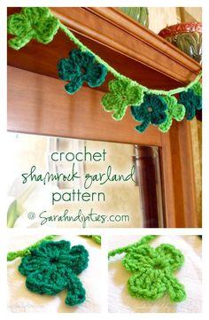 Crochet Shamrock Garland Free Pattern