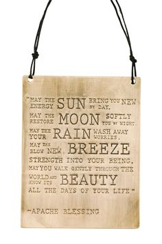 Large Apache Blessing Plaque Brass or Copper Copper Art, Daily Reminder, Constellations, No Worries, Blessed, Reusable Tote Bags, Brass, Good Things, Messages