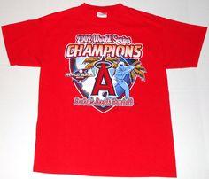 ANAHEIM ANGELS 2002 World Series Champions Red T Shirt M MEDIUM Baseball MLB #Optima #AnaheimAngels