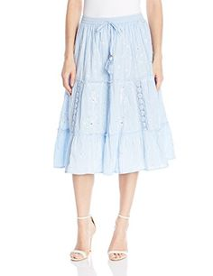 NY Collection Womens Solid Knee Length Pleated Tiered Skirt with Drawstring Waisty with Embroidery and Crochet Trim Chambray Blue XLarge -- You can get additional details at the image link.