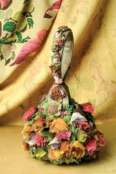 """""""Enchanted"""" evening bag with red, gold, & pink flowers by Mary Frances from Victorian Trading Co."""