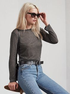 The Fanta Top has all the ease and comfort of a t-shirt, except we added a little sparkle to make you feel extra special. This is a sheer metallic novelty. Weekend Wear, Who What Wear, Classic Looks, Jeans Style, Spring Summer Fashion, Fashion Beauty, Mom Jeans, Normcore, Style Inspiration