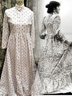 A Beautiful Rare Vintage Laura Ashley Maxi Dress In Victorian Styling And Early 1970s