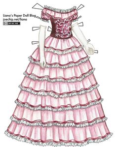 Pink 1860s Ball Gown with White Scroll Pattern | Liana's Paper Dolls What I have here is totally different from what I wanted, because after my mistake the only thing I could do was to make it as dark as possible and draw something distracting on top of it.