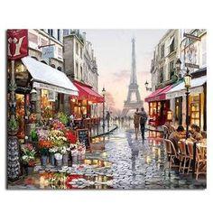 RUOPOTY Paris Street DIY Peinture Par Numéros Peints À La Main Toile Peinture
