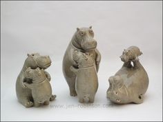 Ceramic hippo sculptures. Made in finely grogged white earthenware. Fired to 1050°C/1000°C More hippos can be seen in my website gallery www.jen-robinson.com/g_ceramic… Hippopottermiss is on...
