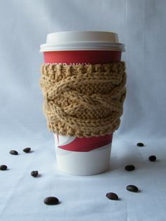 Items similar to Hermine Cable Cup Cozy Knitting Pattern - Digital PDF Knitting Pattern - on Etsy Coffee Cups, Tea Cups, Coffee Cup Sleeves, Disposable Cups, Spinning Yarn, Knitting Patterns, Arts And Crafts, Cozy, Crafty