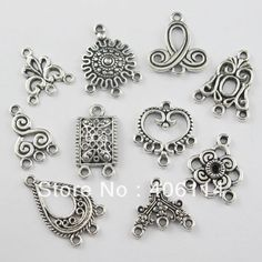 150 PCS Tibetan Silver Crafts Jewelry Making Cross Heart Charms Pendants 18*10mm
