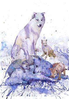 Wolf family , wildlife, watercolor, wall decor, animal art, art print, nursery decor, Illustration, room decor