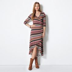 #Avon Amber #Midi Dress. Off to a chic brunch? The #Southwestern-inspired striped wrap dress is effortlessly flattering when paired with neutral booties and earth-tone accessories. Reg. $39.99. #CJTeam #AmberMidiDress #Stripes #Style #Sale #Fashion #New #Dress #C1 FREE shipping with any $40 online Avon purchase. Shop Avon fashion online @ www.TheCJTeam.com.