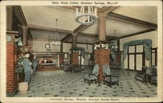 The hotel had its final grand opening in 1912 and drew in over guests. During the prohibition era, it became a speakeasy that drew in the likes of gangsters such as Al Capone. Haunted Hotel, Haunted Places, Old Photos, Vintage Photos, Excelsior Springs, Kansas City Missouri, Hotel Lobby, Historical Pictures, Photo Postcards