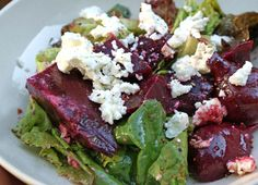 Beets, avocado and goat cheese salad