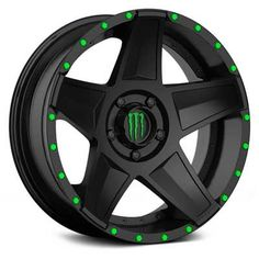 "NEW WHEELS 648B MONSTER ENERGY BLACK / GREEN BOLTS.  AVAILABLE IN 20"" & 22"" @ WWW.NTWONLINE.COM"